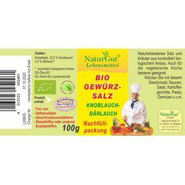 NaturGut Nachfüllpackung Gewürzsalz Knoblauch & Bärlauch Bio (100g)